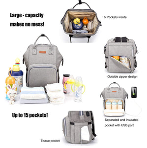 #1 Best Baby Diaper Nappy Backpack Waterproof Nappy Changing Bag Baby Care Mummy Bag