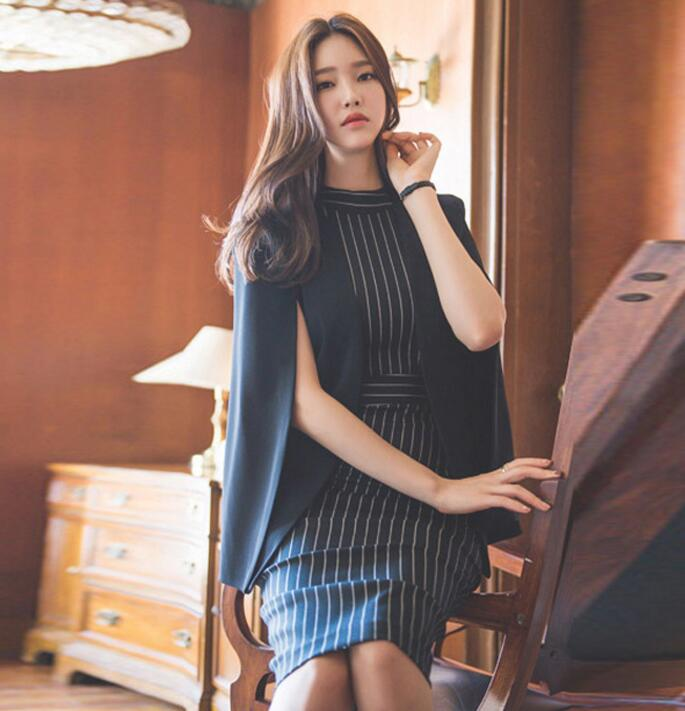 52c8a7d848c59 Dress Suit For Women Office Ladies Striped Korean Style Cloack Blazer  Jacket Work Business Wear High Quality Brand Female Outfit