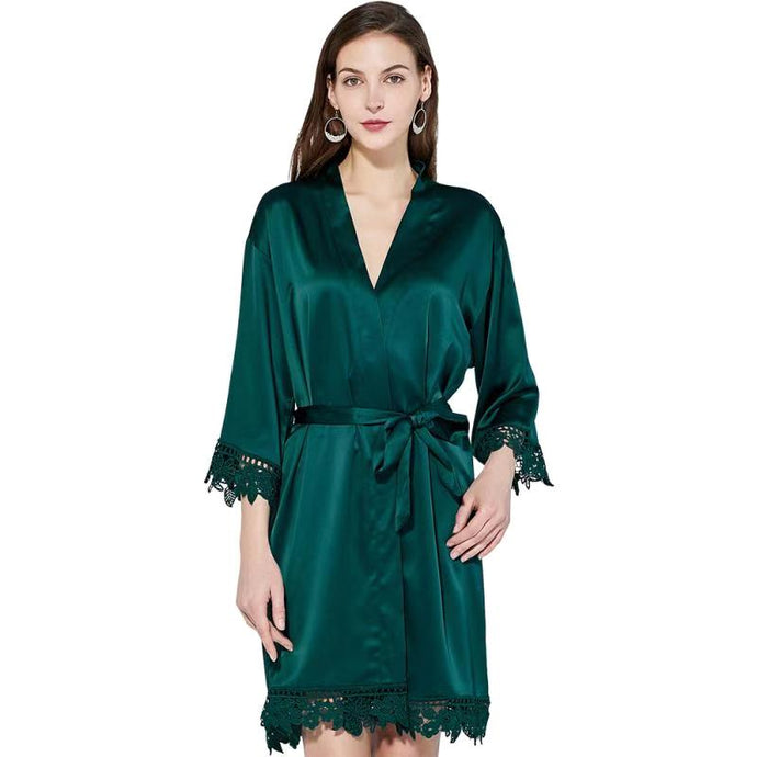Forest Green Satin Lace Edge Robe