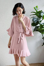 Load image into Gallery viewer, Dusky Rose Satin Ruffle Edge Robe