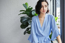 Load image into Gallery viewer, Sky Blue Satin Ruffle Edge Robe