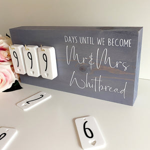 Misty Violet Rustic Wedding Countdown Sign