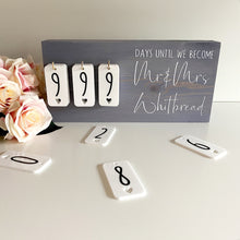 Load image into Gallery viewer, Misty Violet Rustic Wedding Countdown Sign