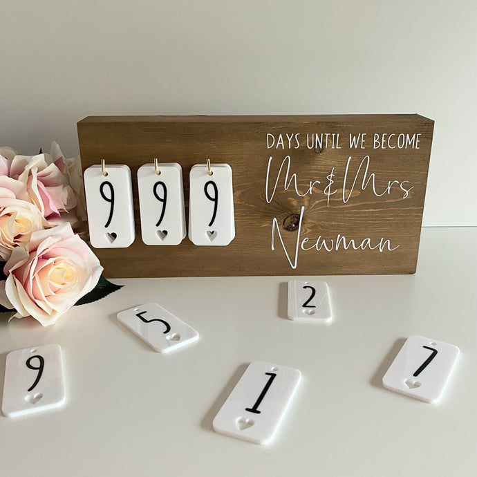Oak Rustic Wedding Countdown Sign