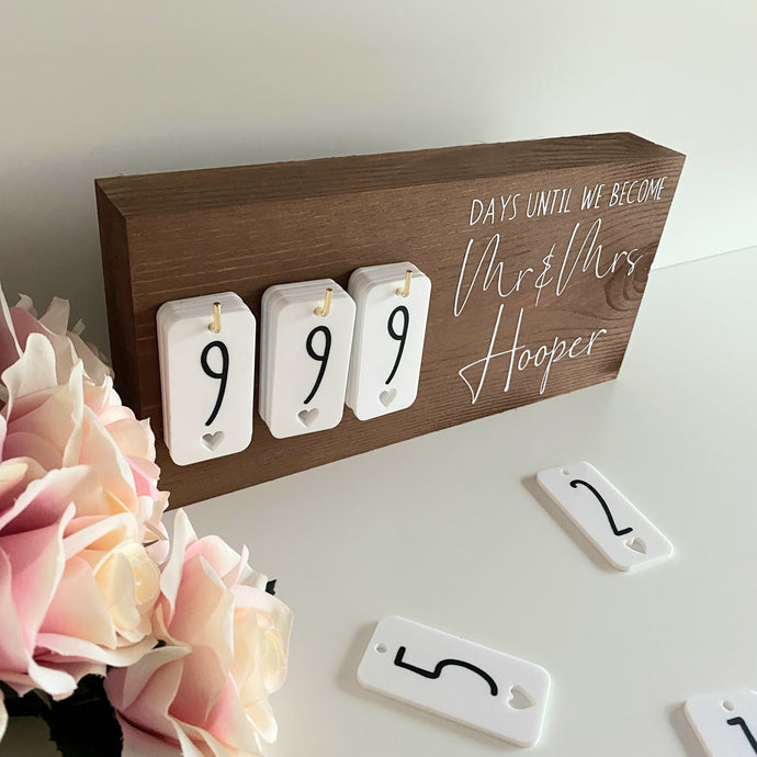 Walnut Rustic Wedding Countdown Sign