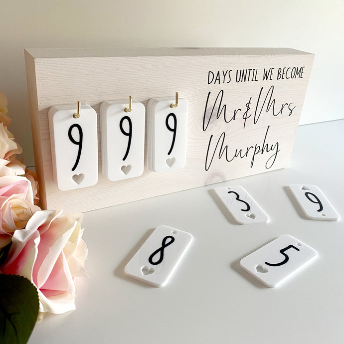 White Wash Rustic Wedding Countdown Sign