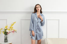 Load image into Gallery viewer, Dusky Blue Satin Sleepshirt