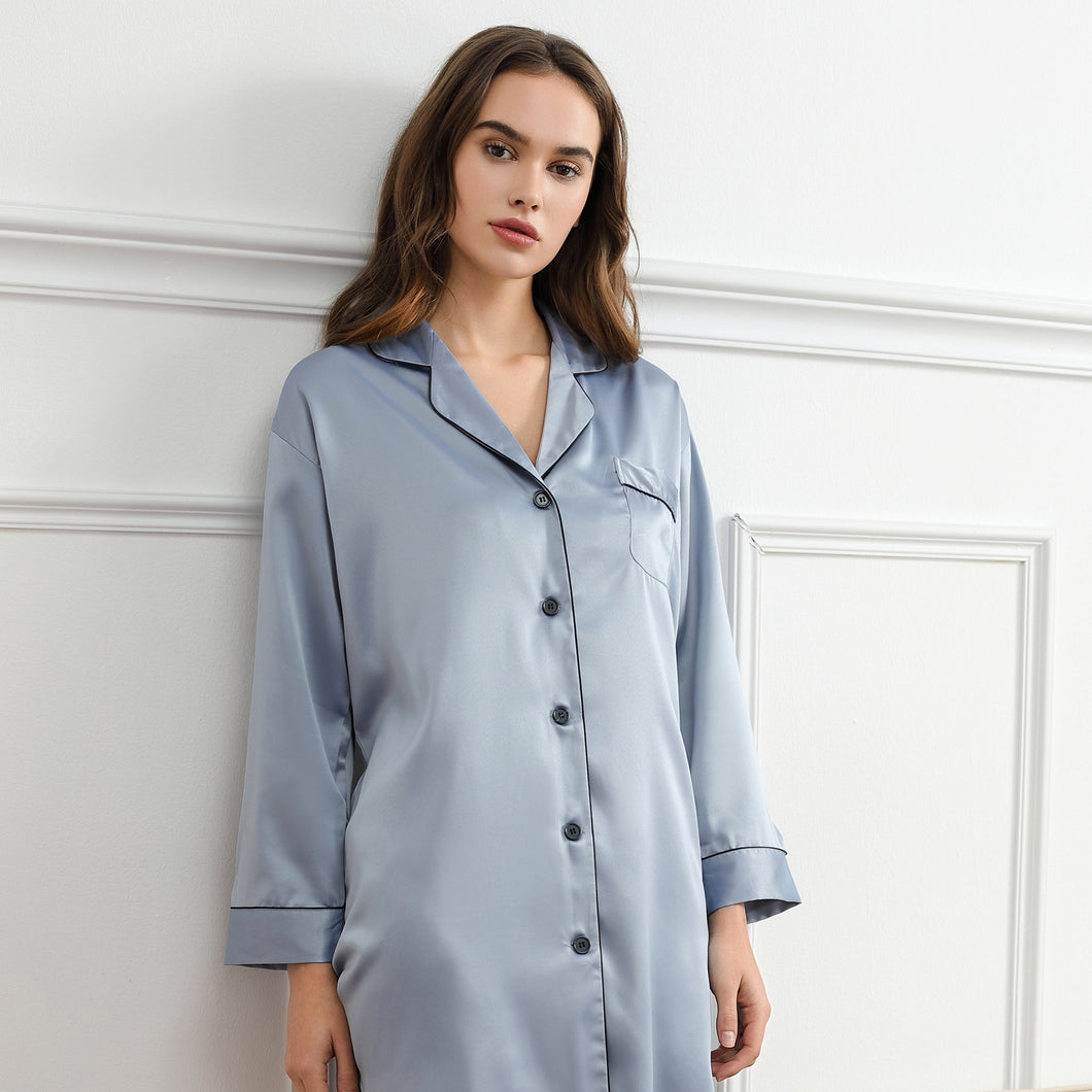 Dusky Blue Satin Sleepshirt