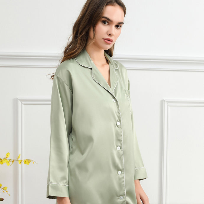 Sage Green Satin Sleepshirt