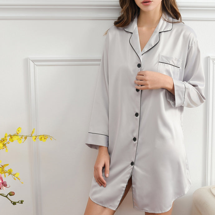Silver Grey Satin Sleepshirt