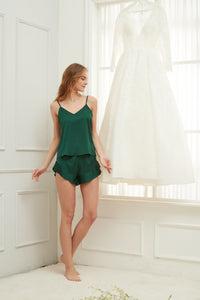 Forest Green Satin Ruffle Edge Cami Set