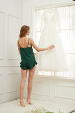 Load image into Gallery viewer, Forest Green Satin Ruffle Edge Cami Set