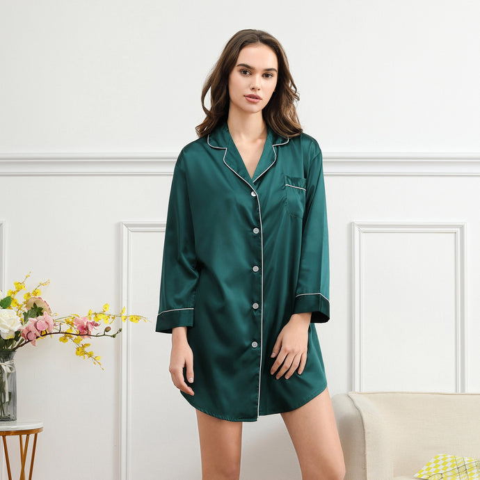Forest Green Satin Sleepshirt