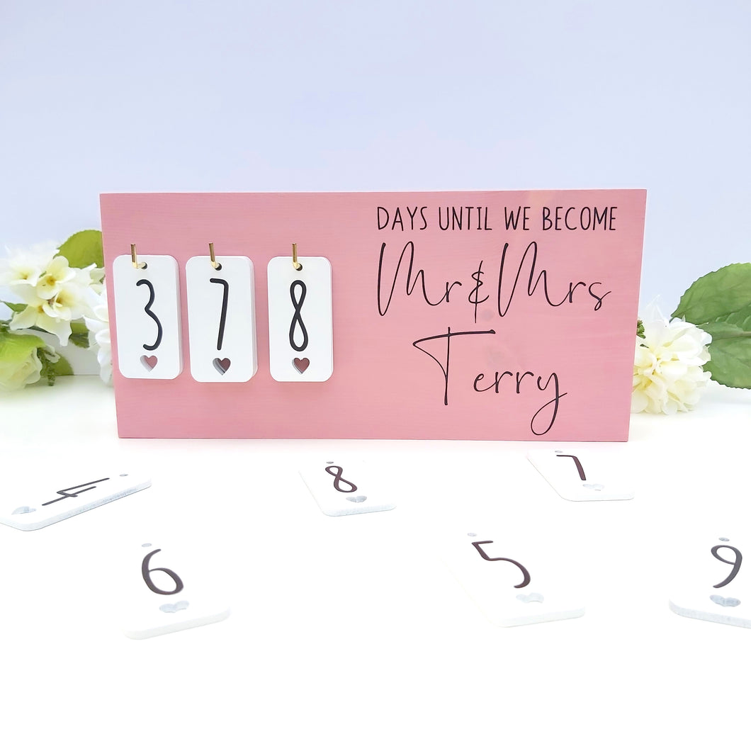 Baby Pink Rustic Wedding Countdown Sign