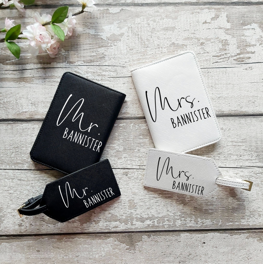 Personalised Passport Holder and Luggage Tag Set