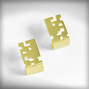 Golden button cube earrings