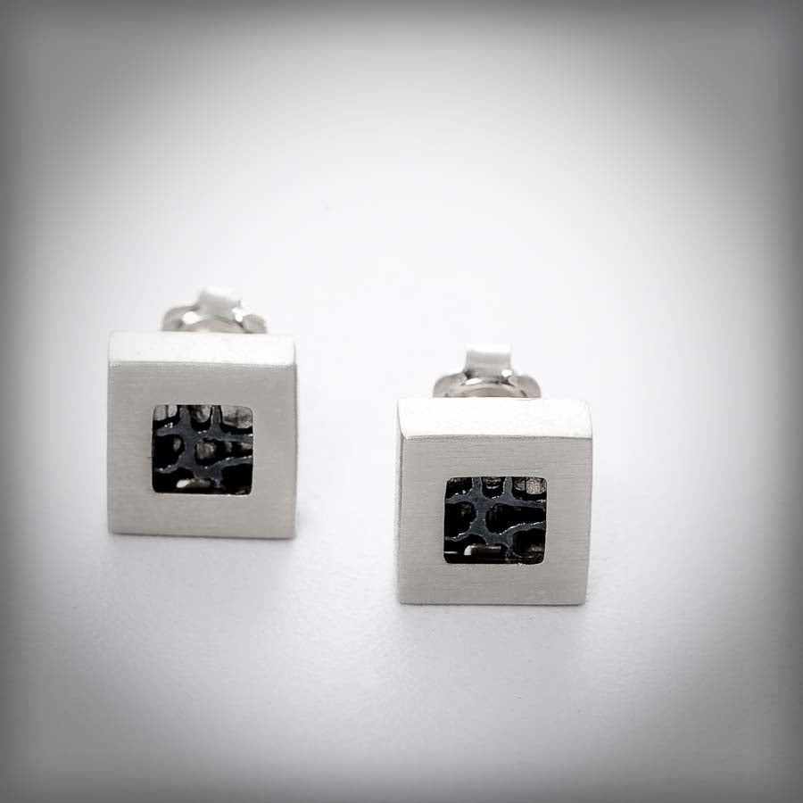 Xarxa silver stud earrings