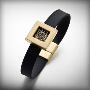 Golden bracelet with metal and rubber
