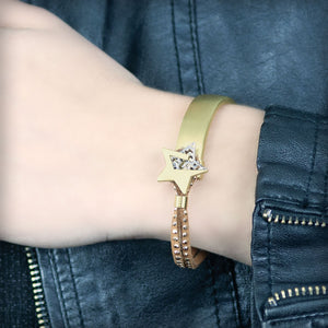 Golden bracelet with metal