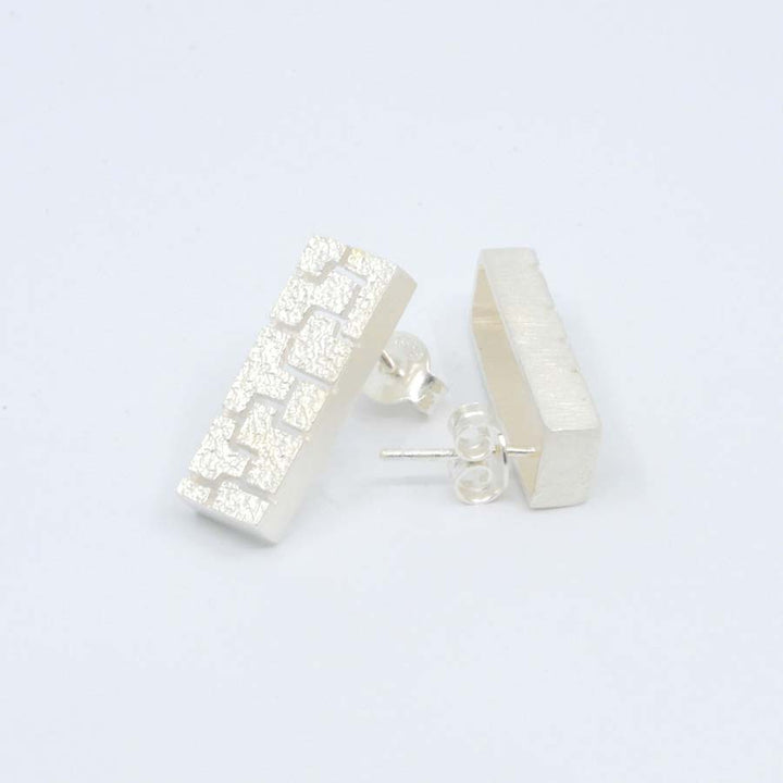Textura silver earrings