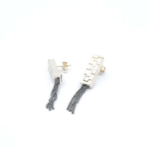 Long silver stud earrings