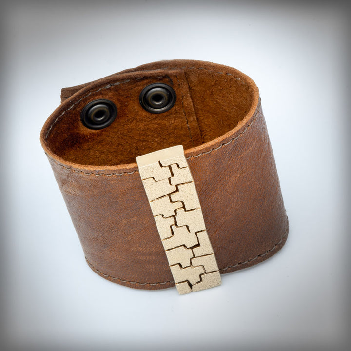Golden leather bracelet