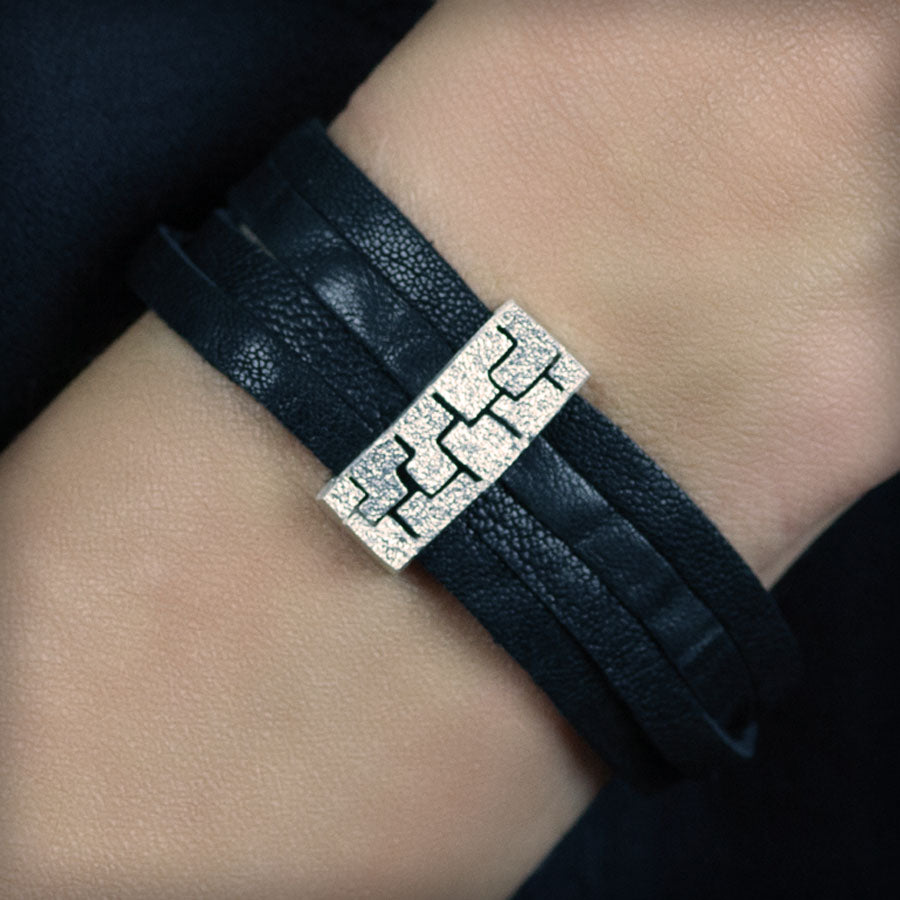 Small silver leather bracelet
