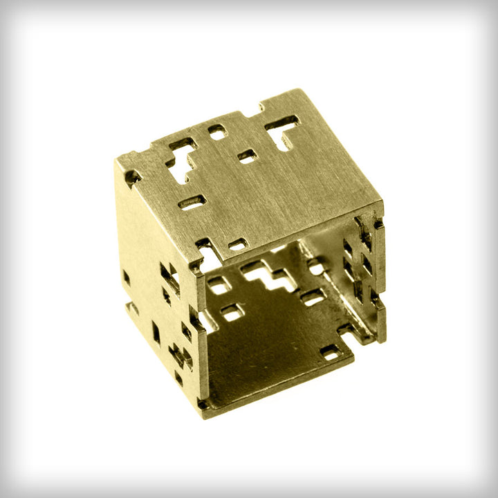Necklace with large golden cube