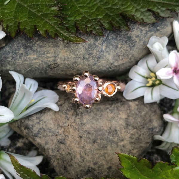Purple Sapphire, Orange Sapphire, Rose Gold, Bespoke Jewellery, Handmade, Ring, alternative engagement ring