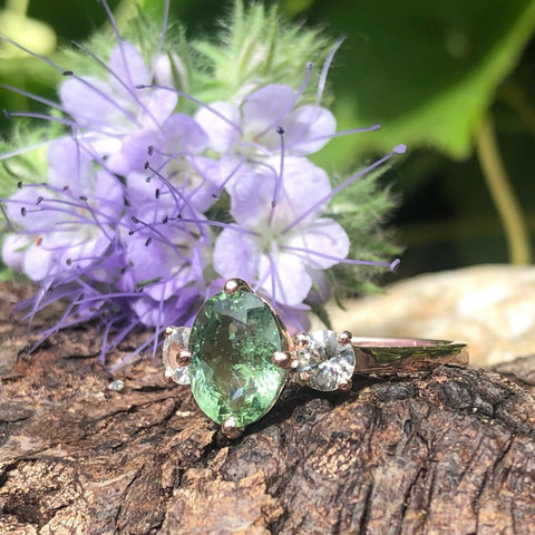 Seafoam green Tourmaline with White Sapphire in Rose Gold