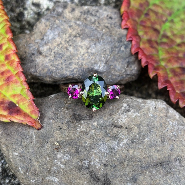 Green tourmaline with Rhodolite Garnet in rose gold-The Baroness