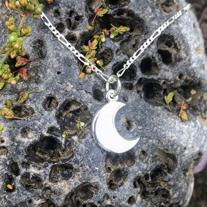 Silver moon, Moon necklace, raw texture, smooth, birthday gift, luna