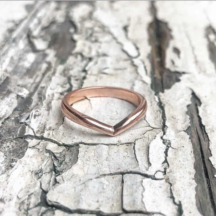Rose Gold Wishbone ring, wishbone ring, lady luck