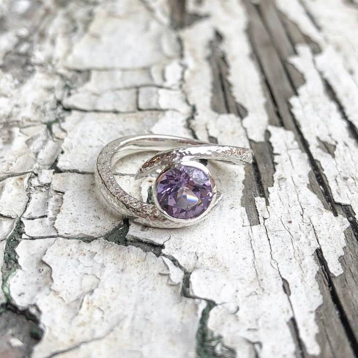 amethyst ring, embrace, sterling silver