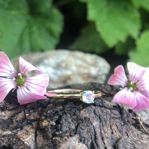 opal ring, stacking ring, rose gold, opal, alternative engagement ring