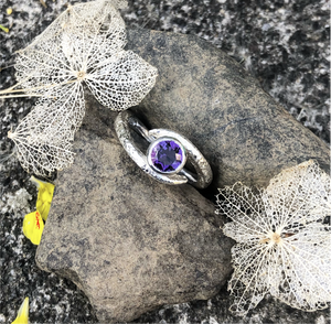 embrace, silver ring, amethyst