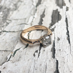 salt and pepper diamond, engagement ring, handmade ring, Rose gold, Black Diamond, 18ct gold