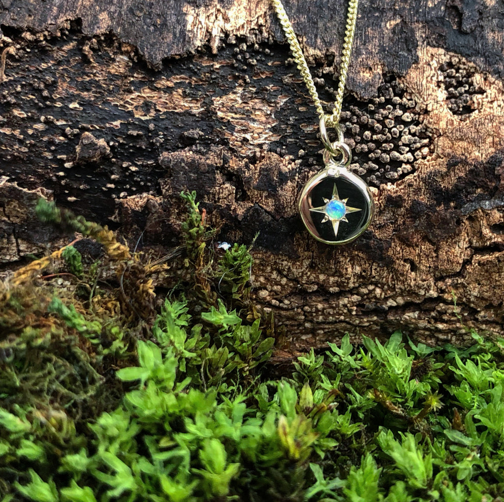 yellow gold, opal, necklace, october birthstone