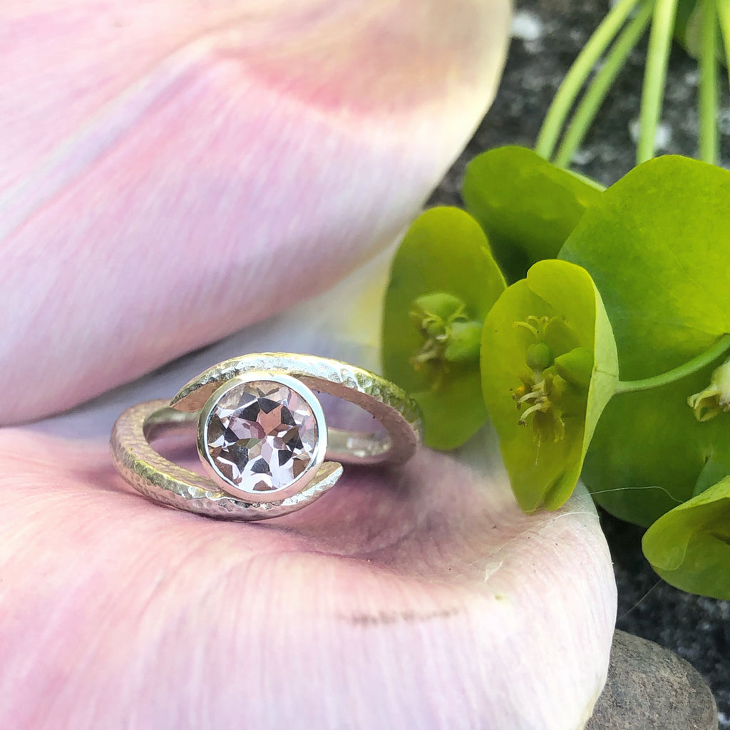 White gold Morganite ring, White gold, morganite, ring, engagement ring, embrace