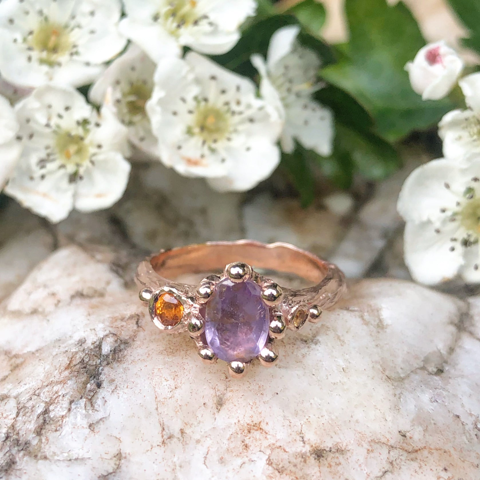 lilac sapphire, orange sapphire, rose gold, sapphire rinh, handmade ting, engagement ring, one of a kind