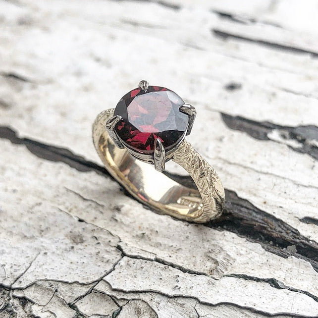 The Crimson Witch, Garnet ring, Mozambique garnet, Yellow gold, Statement ring, Engagement ring