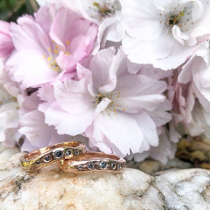rose gold, salt and pepper diamond, wedding ring, fitted wedding ring