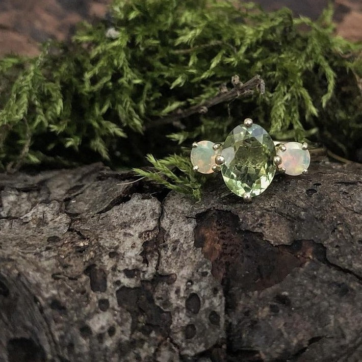green tourmaline, opal, yellow gold, alternative engagement ring, irish made, made in ireland, janice byrne goldsmith