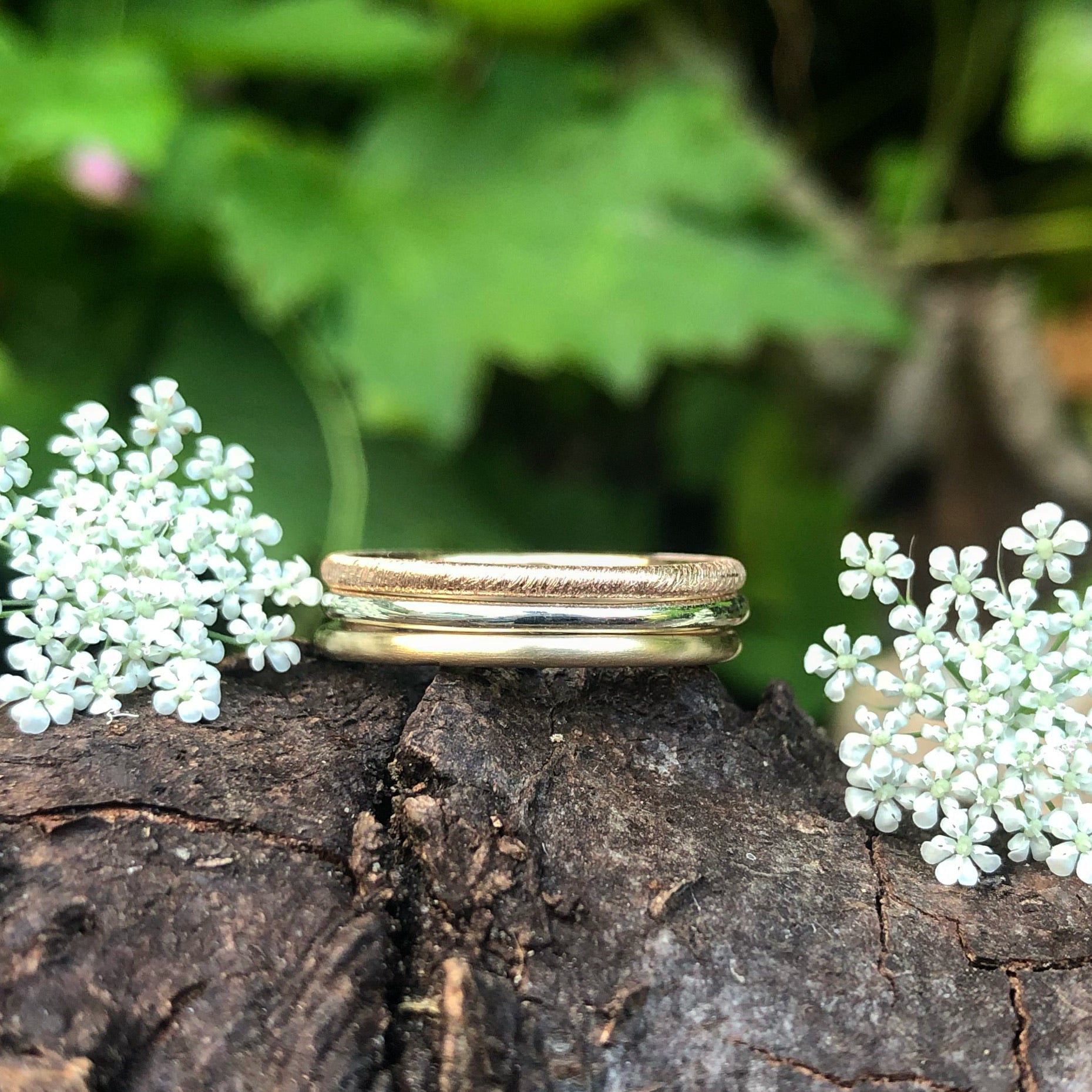 stacking rings, trio, textures