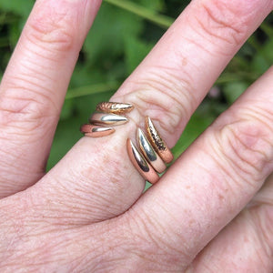 open wishbone, as you wish, wedding ring, rose gold wishbone ring, rose gold, polished finish