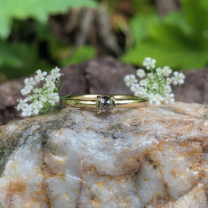 yellow gold, salt and pepper diamond, rose cut