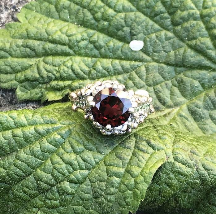 Garnet ring, engagement ring, alternative engagement ring, garnet ring, rose gold, tsavorite garnet, mozambique garnet, rhodolite garnet