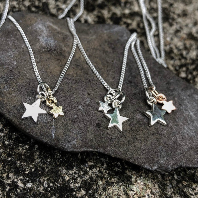 Stella & Stardust Pendant-Double Star Pendant-Sterling Silver