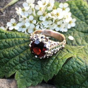 garnet ring, winter berries, rose gold, green garnets, pink garnets,