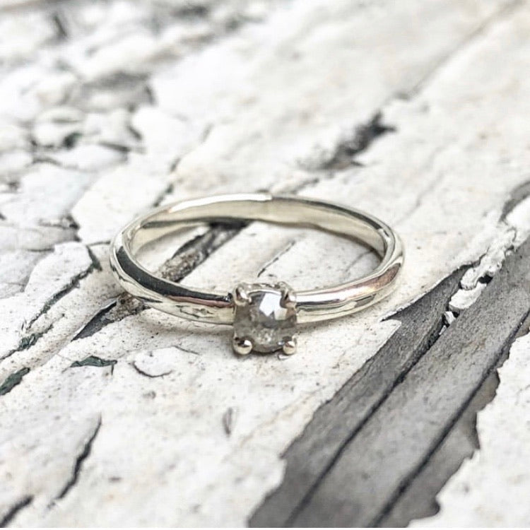 salt and pepper diamond, engagement ring, handmade ring, Rose cut diamond, 9ct gold, stacking ring